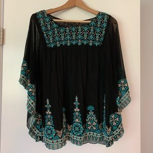 Sheer butterfly sleeve top with embroidery